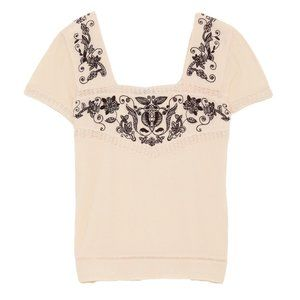 ZARA Cream Contrast Top with Black Embroidery